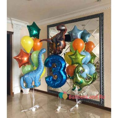 Композиция из гелиевых шариков на День Рождения с цифрой Мир Юрского периода