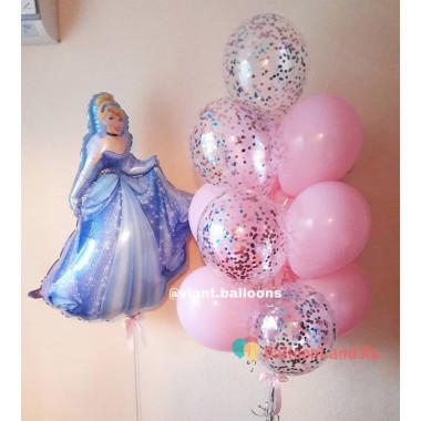 Композиция из шариков Золушка с шарами с конфетти в нежно-розовой гамме