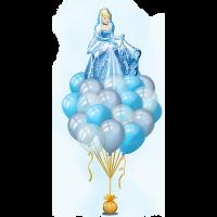 Букет гелевых шаров в голубой гамме с Золушкой