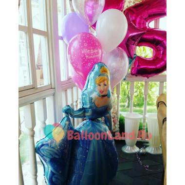 Композиция из воздушных шариков на День Рождения с Золушкой и цифрой