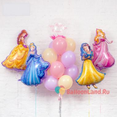 Композиция из гелиевых шаров с принцессами Дисней и шаром с перьями