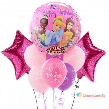 Букет из воздушных шаров Принцессы Дисней со звездами