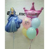 Композиция из шариков с Золушкой и короной на День Рождения