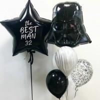 Композиция из воздушных шариков Дарт Вейдер с вашими поздравлениями