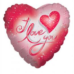 Шар-сердце I love you Красно-розовое