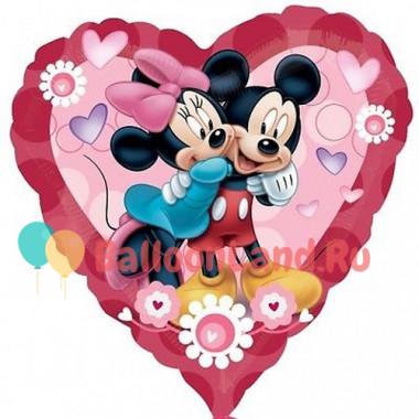 Шар-сердце 'Микки и Минни'