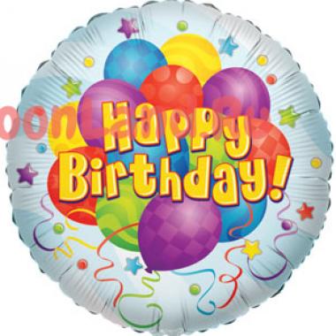 Шар-круг Happy Birthday с воздушными шариками