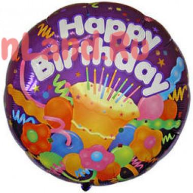 Шар-круг 'Happy Birthday' с праздничным тортиком