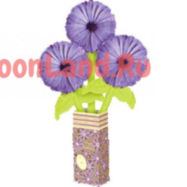 Цветы из шаров в бумажной вазе 'Букет маргариток'
