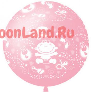 Метровый шар 'На рождение девочки'