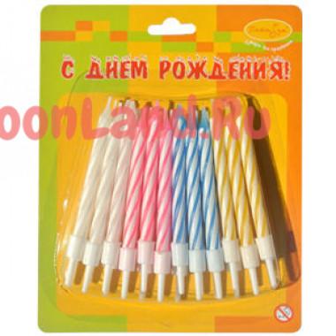 Свечи 2-х цветные, мини, 24шт.