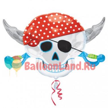 Фигурный шар 'Череп-пират'