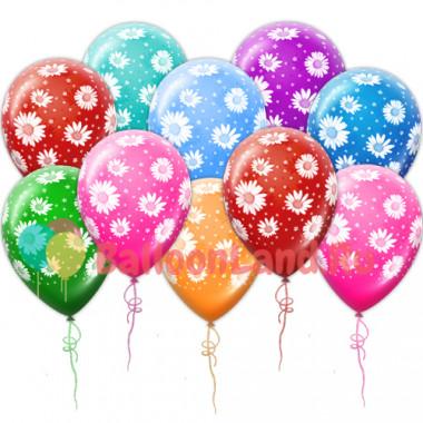 Воздушные шары с ромашками