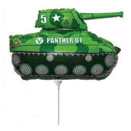 Фигурный шар МИНИ на палочке Зеленый танк