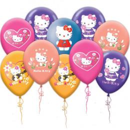 Воздушные шары из латекса  Hello Kitty разноцветные