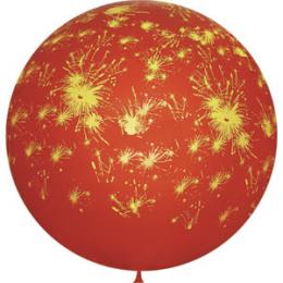 Метровый шар Фейерверки красный