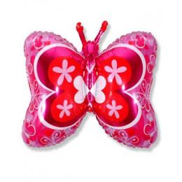 Фигурный шар Бабочка ярко-розовая