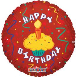 Шар-круг Happy Birthday с кексиком со свечкой