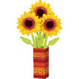 Цветы из шаров в бумажной вазе Букет подсолнухов