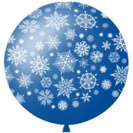 Метровый шар Снежинки синий