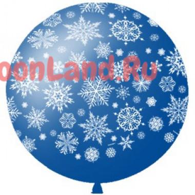 Метровый шар 'Снежинки' синий