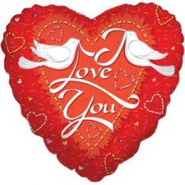 Шар-сердце I love you с голубями