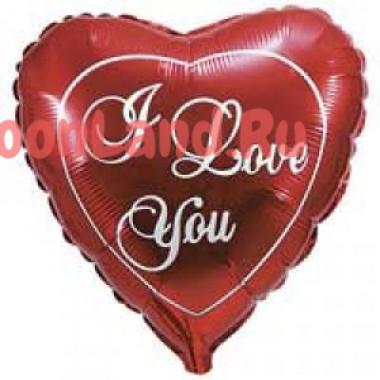 Шар-сердце 'I love you' красный