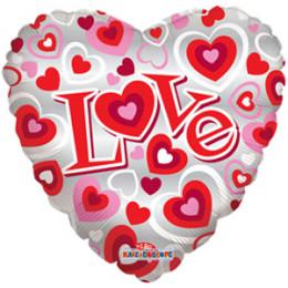 Шар-сердце I love you розовый с сердечками
