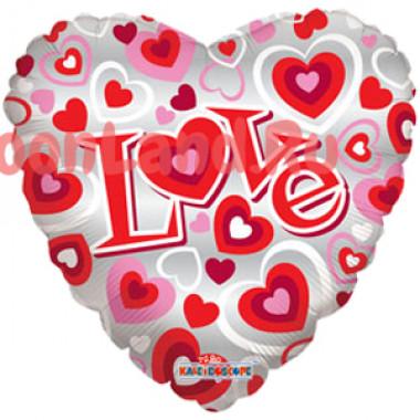 Шар-сердце 'I love you' розовый с сердечками
