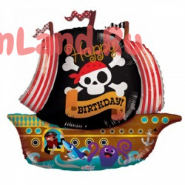 Фигурный шар 'Happy Birthday' с пиратами