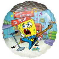 Шар-круг С днём рождения с Губкой Бобом