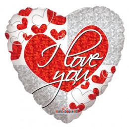 Шар-сердце I love you с голографией