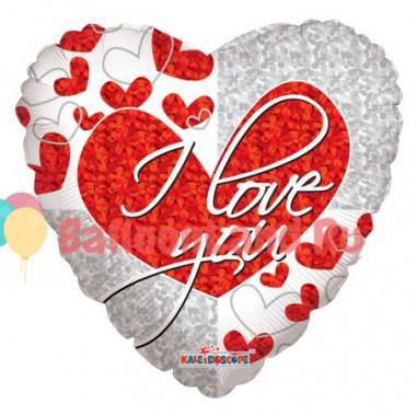 Шар-сердце 'I love you' с голографией