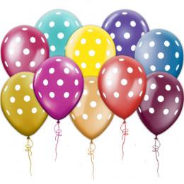 Воздушные шары в белый горошек