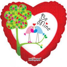 Шар-сердце Be mine с птичками