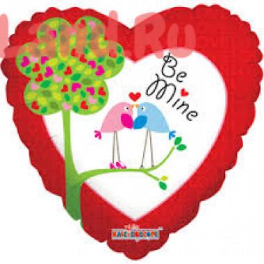 Шар-сердце 'Be mine' с птичками