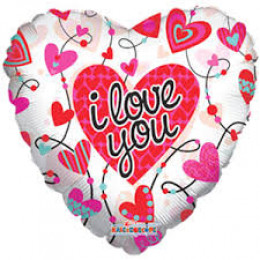Шар-сердце I love you бело-розовый
