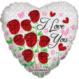 Шар-сердце I love you с розами