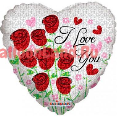 Шар-сердце 'I love you' с розами