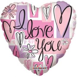 Шар-сердце I love you с ромашками