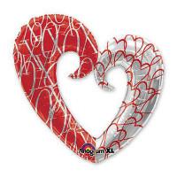 Шар-сердце красно-белый, вензель