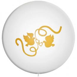 Большой шар Белый, с голубями, 91см